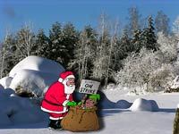 Julkort med strejkande tomtenisse