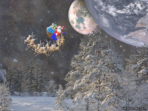 Jultomten åker släde