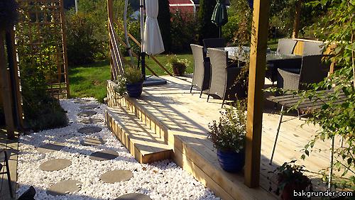 Altan trädäck med vit dekorsten