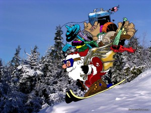 Tomte på skidor