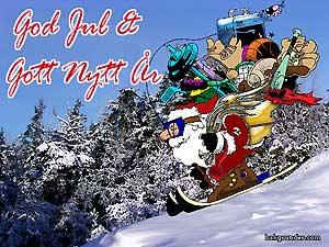 Jultomte på skidor
